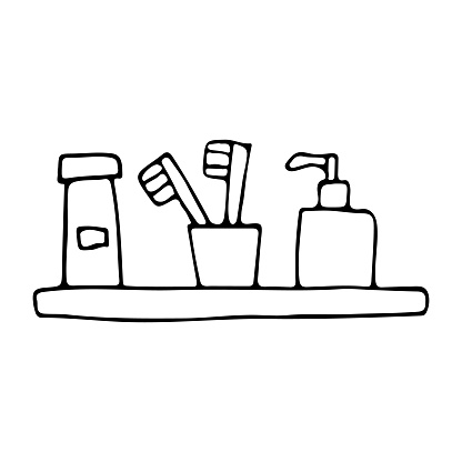 Outline bathroom accessories icons