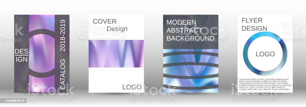 Set For Liquid Holographic Abstract Backgrounds Stock