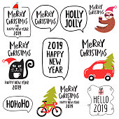 Set for merry christmas and happy new year 2019. Vector lettering illustrations for greeting card, stickers, t shirt, posters design.