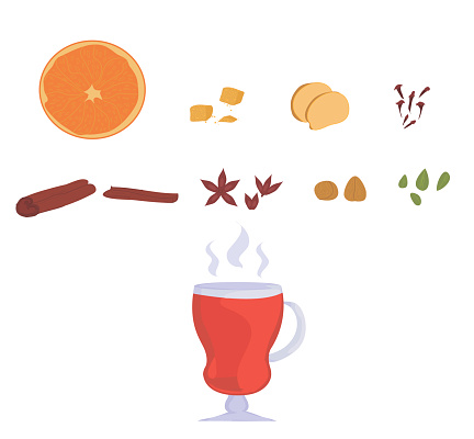 set for mulled wine. glass of mulled wine. recipe for making a hot drink from wine with spices.