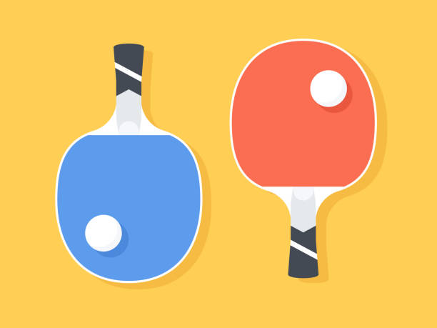Set for ping pong - two racquets Set for ping pong - two racquets of blue and red on a yellow background. Vector illustration table tennis racket stock illustrations
