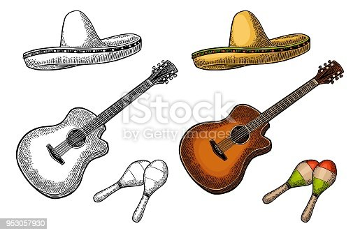 Set for poster mexican carnival. Guitar, maracas and sombrero. Vintage vector black and color engraving illustration. Isolated on white background.
