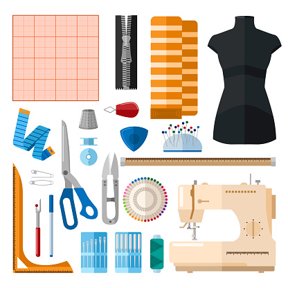 Set for sewing on white background. Collection for sew threads, machine, needles, thimble, buttons, pins, scissors, zipper, ruler, bobbin, graph paper
