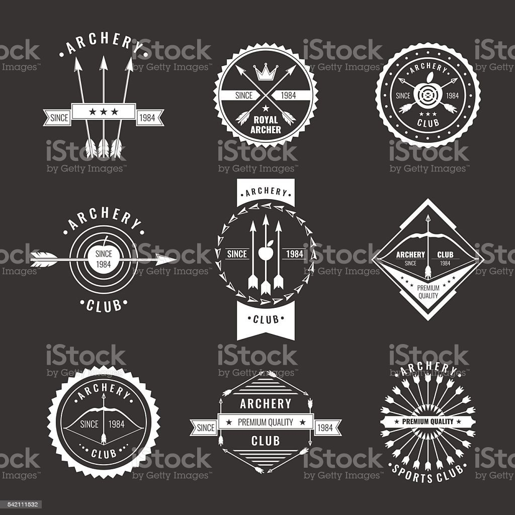 Set for the club of archery vector art illustration