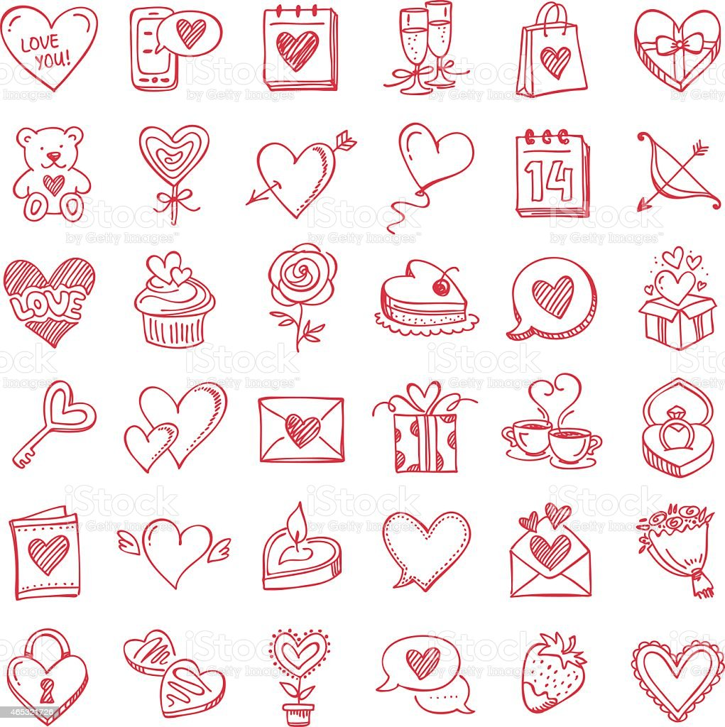 Set for Valentine's Day vector art illustration
