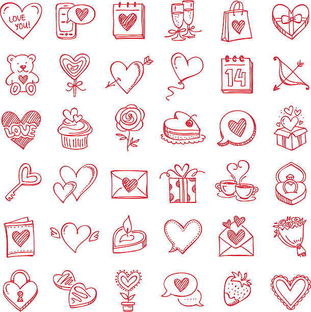 Set for Valentine's Day Doodle icon set set for Valentine's Day candy drawings stock illustrations