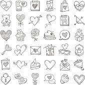 Doodle icon set set for Valentine's Day