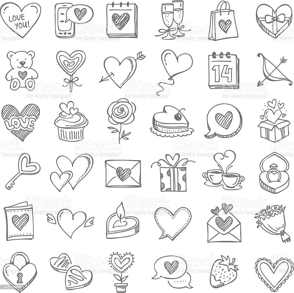 Conjunto de día de San Valentín - ilustración de arte vectorial