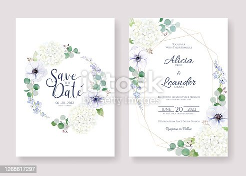 Set for Wedding Invitation, save the date card template. Vector. Anemone flower, silver dollar leaves.