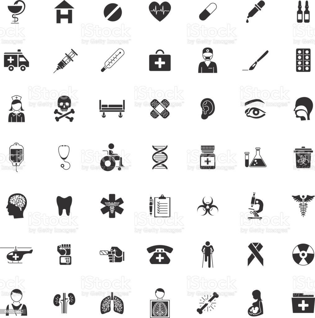 Set Forty-nine black Medical icons vector art illustration