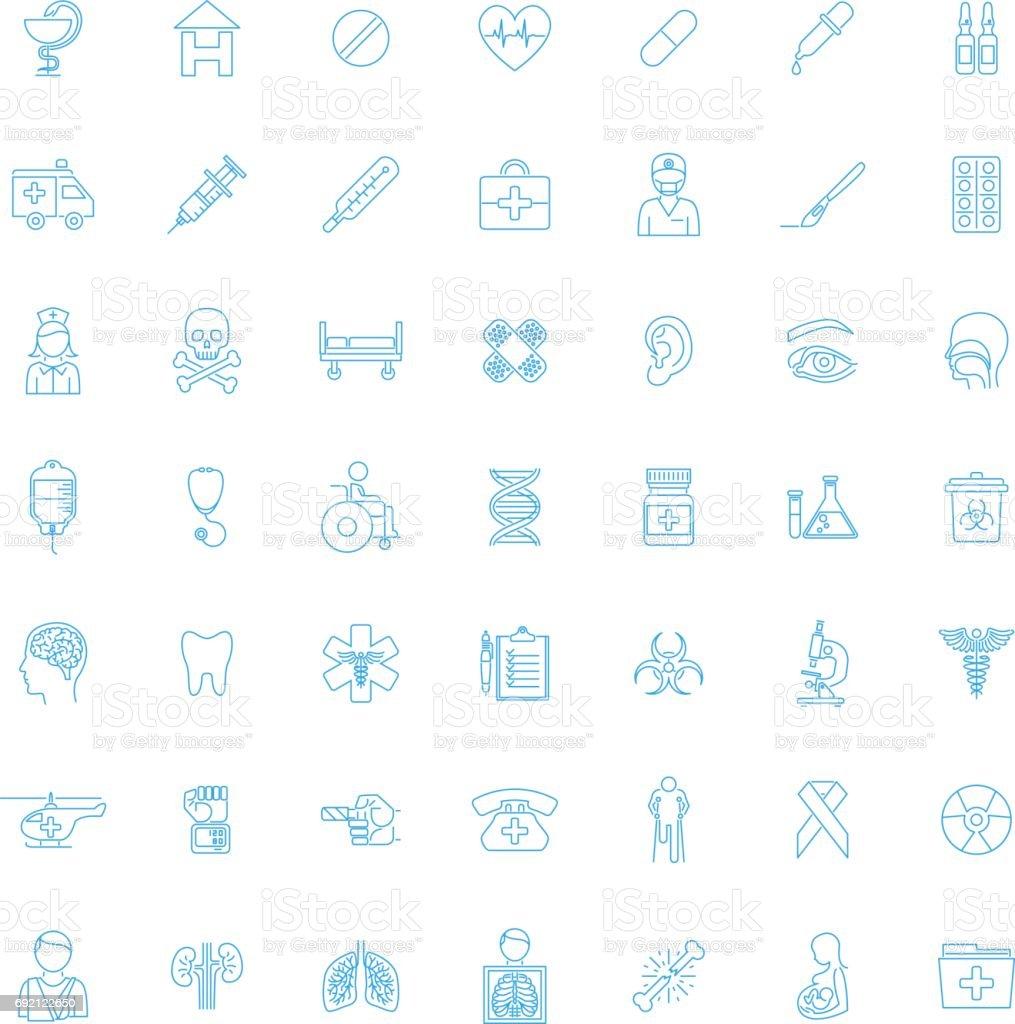 Set Forty-nine blue Medical icons vector art illustration