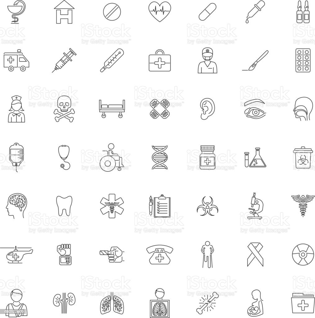 Set Forty-nine outline Medical icons vector art illustration