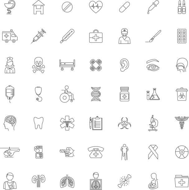 Neunundvierzig Umriss medizinische Symbole festlegen – Vektorgrafik