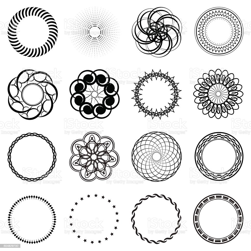 Set Fractal And Swirl Shape Element Vintage Circle Borders Royalty Free