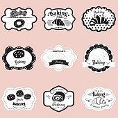 Set frames pastry, croissant, roll, bread, illustration, vector