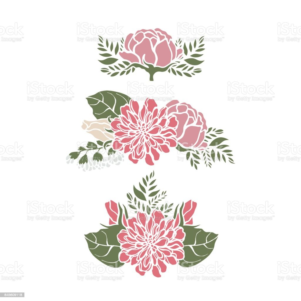 Set Frames With Flowers Peonies Roses Bells Lilies Fern Vector ...