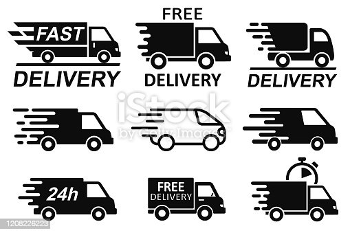Set free delivery signs, free and fast shipping service icons. Express delivery trucks icons set, shipment vans pack, courier transport, distribution and logistic isolated collection signs