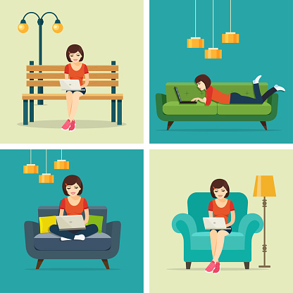 Set freelancer jobs at home and in the park.  Vector flat illustration .