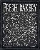 Bakery products loaf bagels, bagguets, buns bread toast fresh beautiful croissant tasty organic set. Vertical vector close-up side view illustration sign shop signboard white chalk outline chalkboard