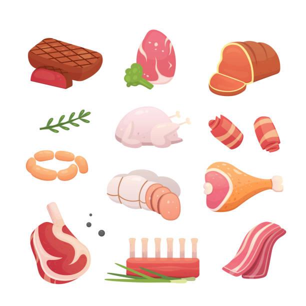 bildbanksillustrationer, clip art samt tecknat material och ikoner med ställ in färska köttprodukter. biff i tecknad stil. vector isolerade illustration nötstek, fläskkorv, skinka, bacon skiva. menyn design. - fläsk biff kyckling