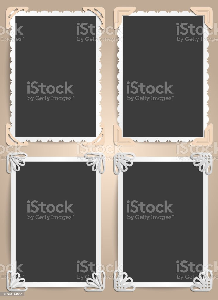 Set from four frames for photos in vintage style. The ideas for scrapbooking vector art illustration