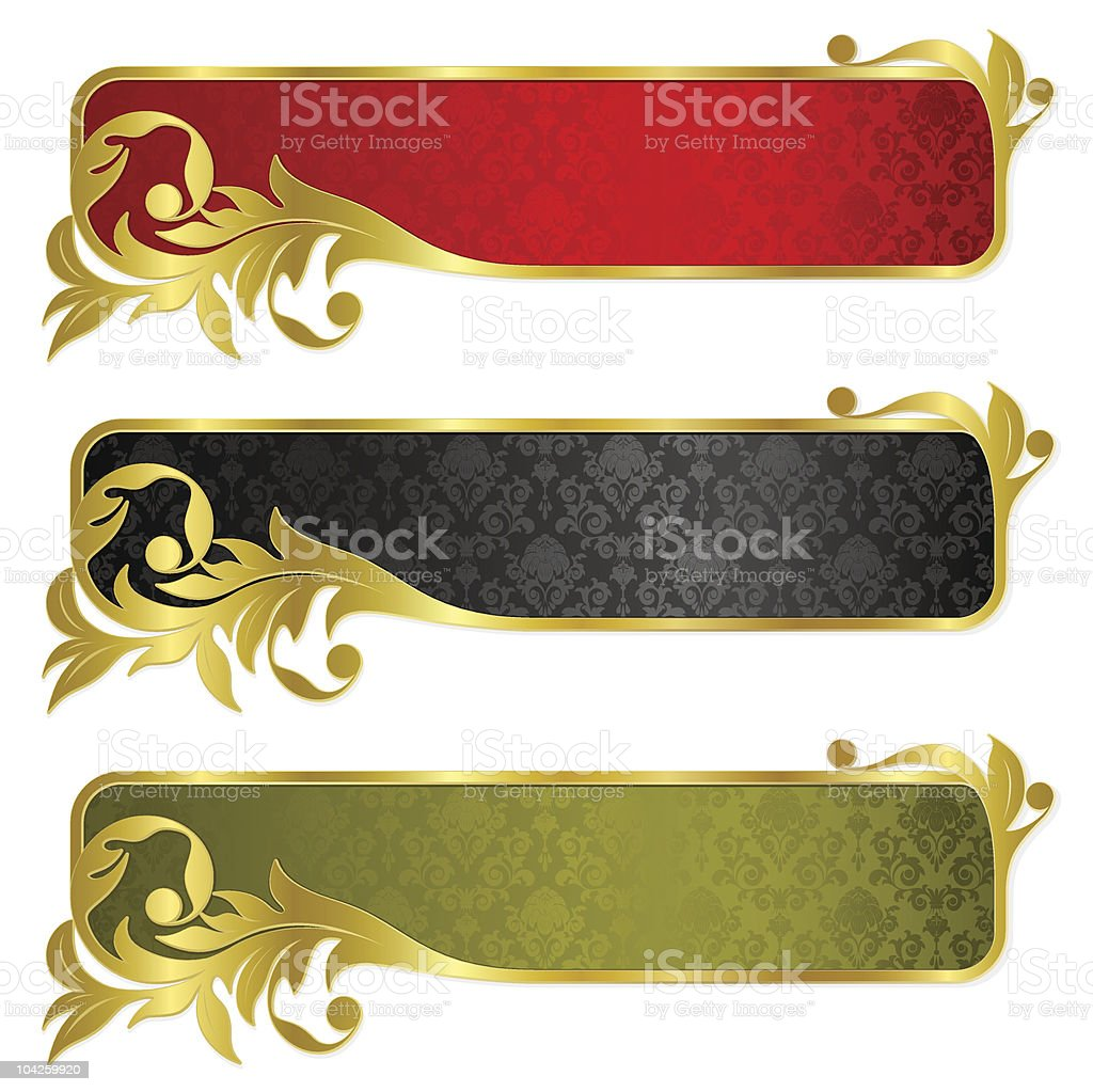 Set from gold banners royalty-free stock vector art
