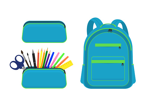 Set from pencil cases and closed backpack