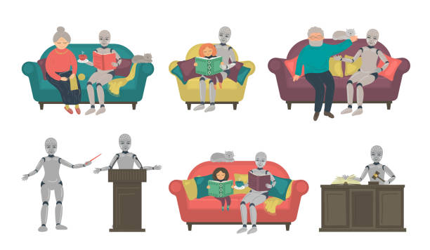 set from speaking a.i. robots - old man sitting chair drawing stock illustrations, clip art, cartoons, & icons