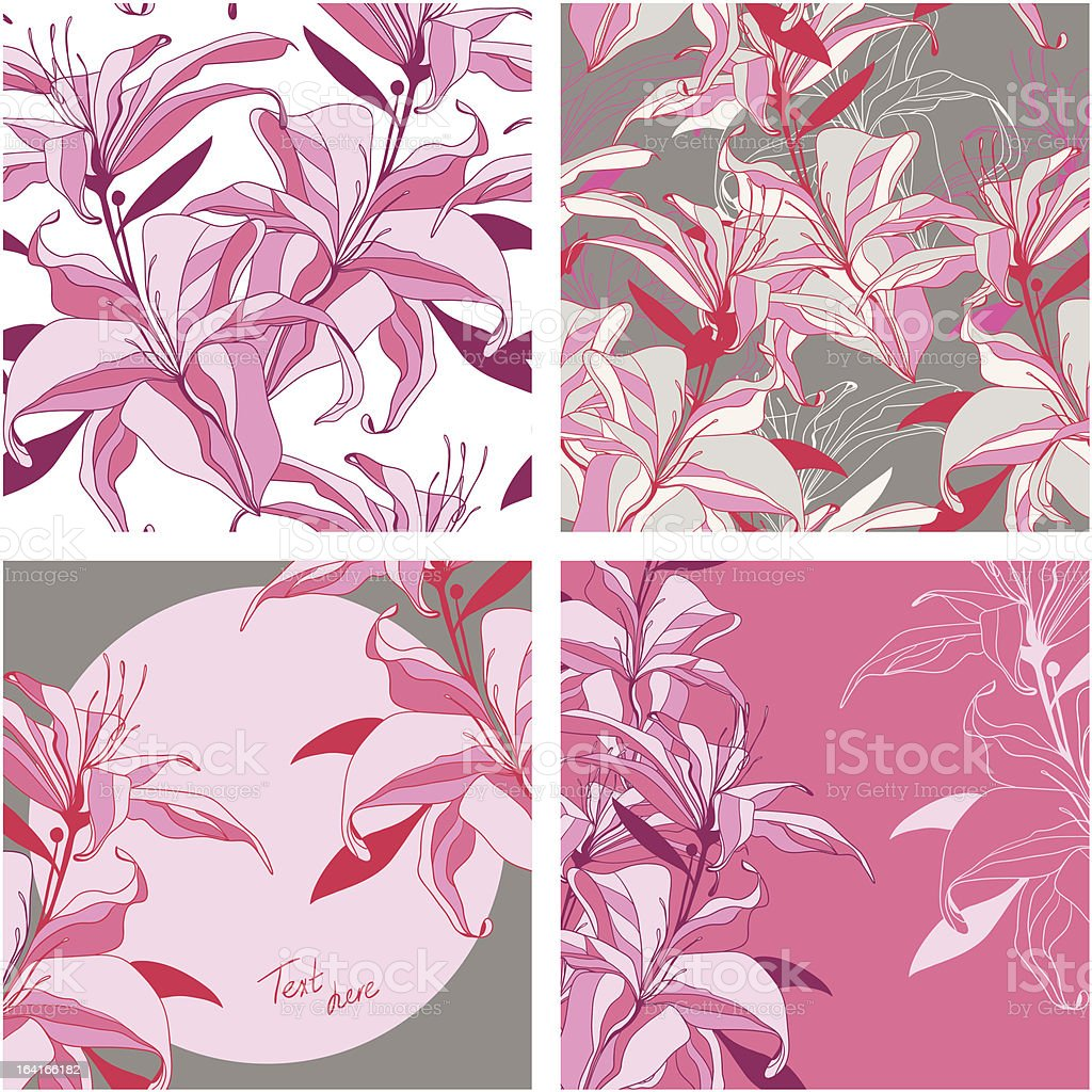 set from vector pink-grey lilies - seamless patterns and frames royalty-free stock vector art