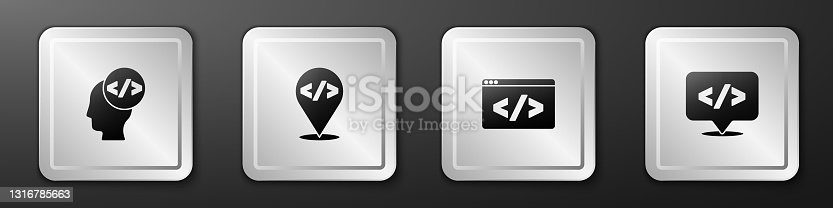 istock Set Front end development, , and icon. Silver square button. Vector 1316785663