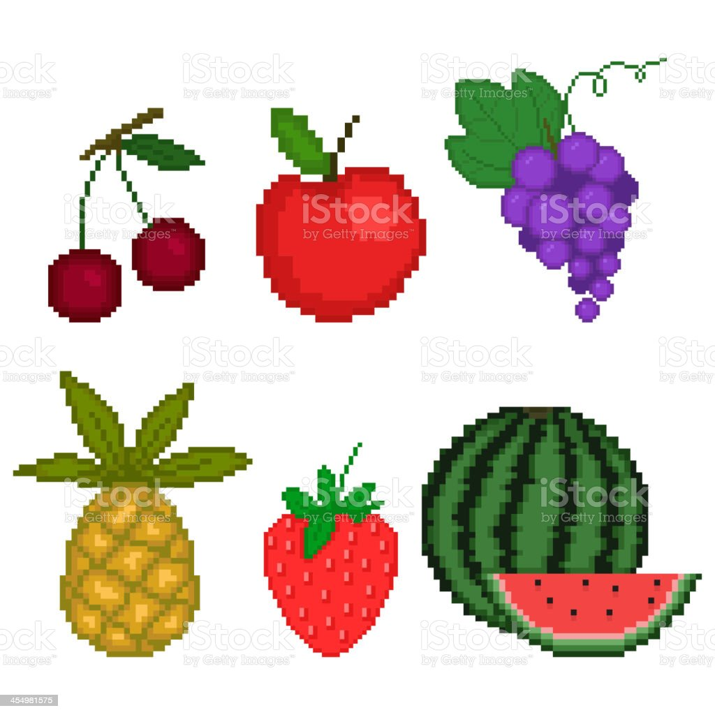 Set Fruit In Pixel Art Style On A White Background Stock