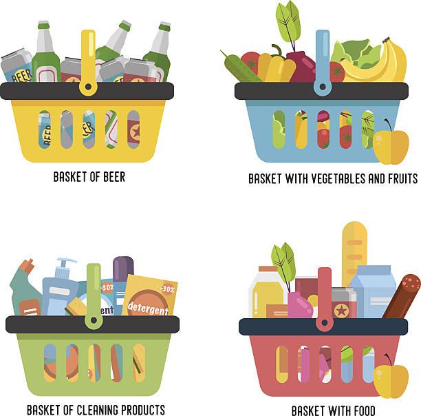 Set Full basket with different goods. – Vektorgrafik