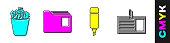 Set Full trash can, Document folder, Marker pen and Identification badge icon. Vector