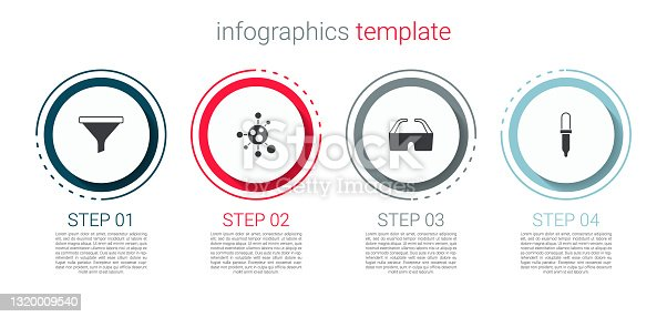 istock Set Funnel or filter, Molecule, Safety goggle glasses and Pipette. Business infographic template. Vector 1320009540