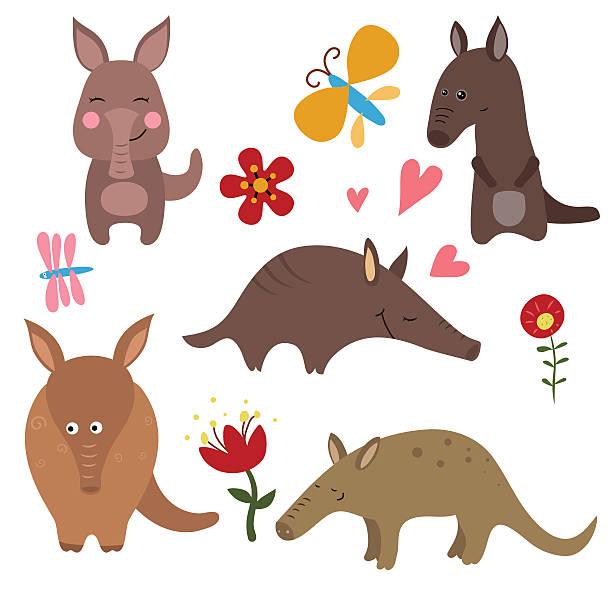 set funny aardvarks - ameisenbär stock-grafiken, -clipart, -cartoons und -symbole
