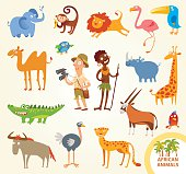 Set funny african little animals