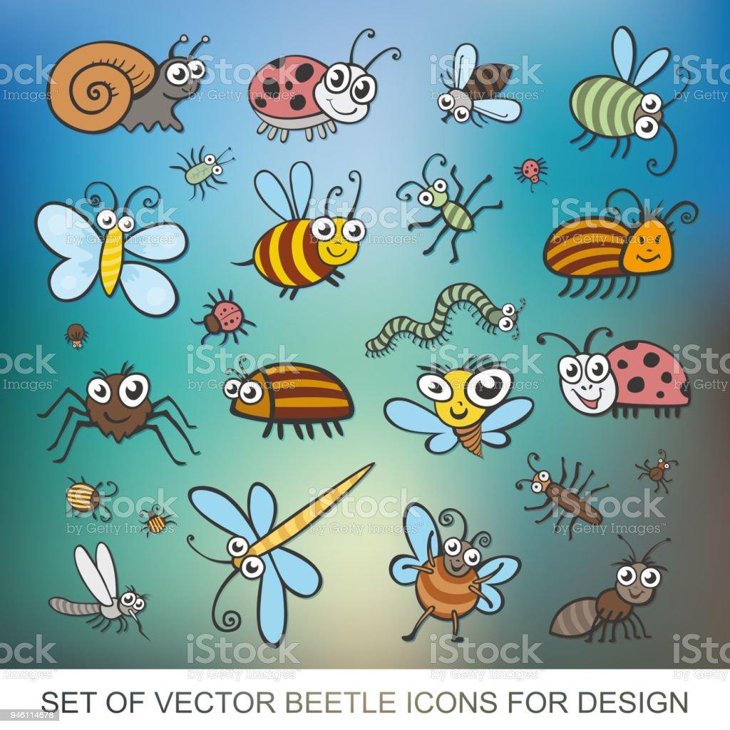 Ilustración de Encuentra Divertidos Insectos Aislado Sobre Fondo ...