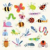 Set funny insects