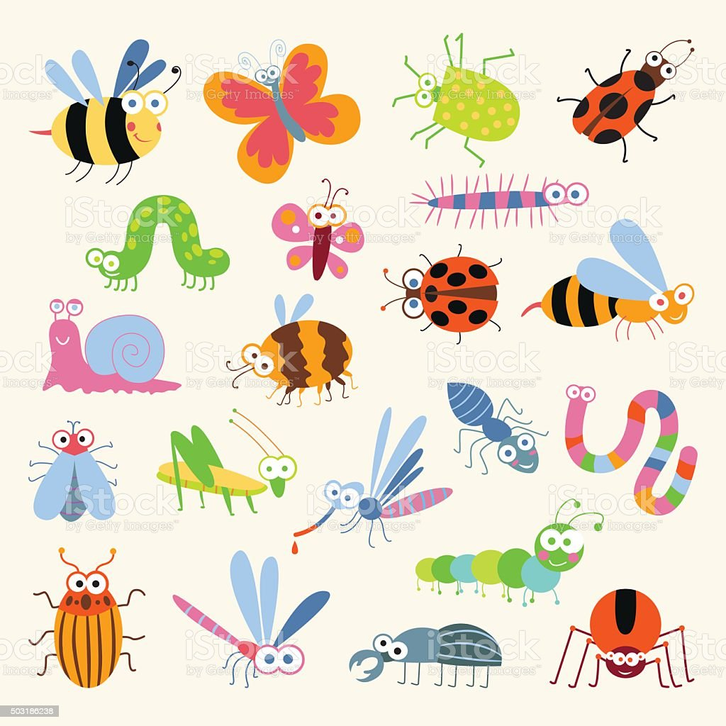 Set funny insects vector art illustration