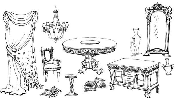 set möbel esszimmer klassisch - gesims stock-grafiken, -clipart, -cartoons und -symbole