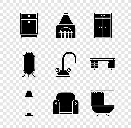 Set Furniture nightstand, Interior fireplace, Wardrobe, Floor lamp, Armchair, Bathtub with shower curtain, Big full length mirror and Water tap icon. Vector