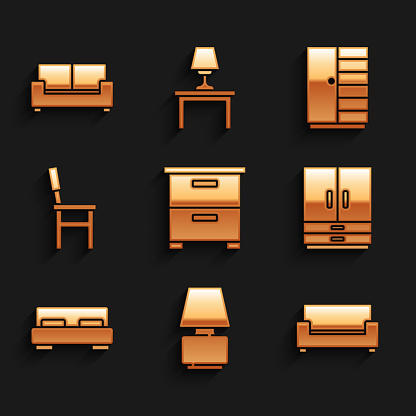Set Furniture nightstand, Table lamp, Sofa, Wardrobe, Big bed, Chair, and icon. Vector