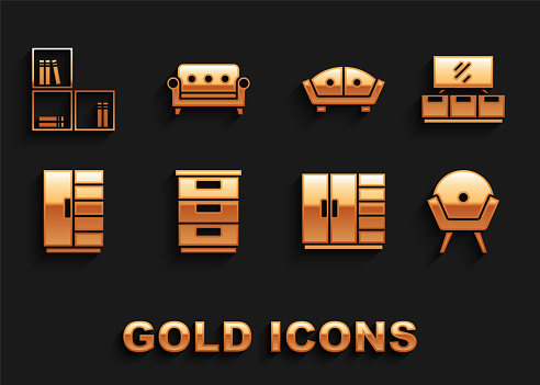 Set Furniture nightstand, TV table, Armchair, Wardrobe, Sofa, Shelf with books and icon. Vector
