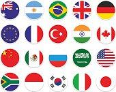 set circle flag of G-20. From left to right  (Australia, Argentina, Brazil, UK, Germany, EU, France, Turkey, India, Canada, China, Mexico, Russia, Saudi Arabia, USA, South Africa, Indonesia, South Korea, Italy, Japan)