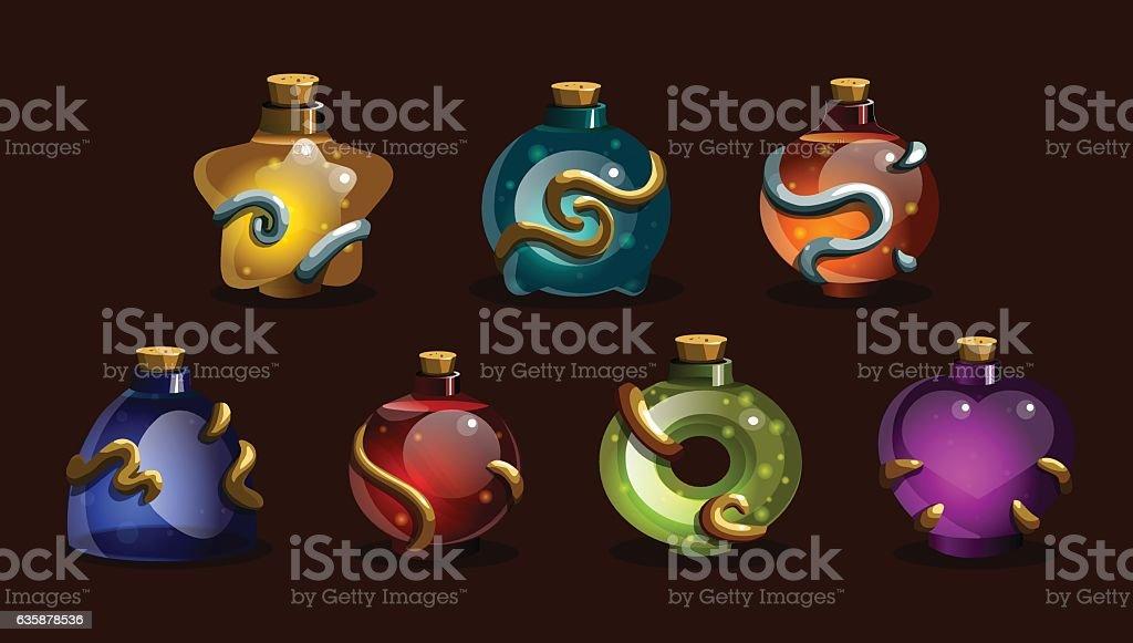 Set game icons of magic elixir. vector art illustration