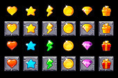 Vector Set Game UI icons on stone square for games. Game casino, slot, UI. 2d Game icon on separate layers.