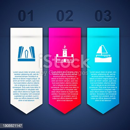 istock Set Gate of Europe, Montjuic castle and Yacht sailboat. Business infographic template. Vector 1305521147