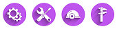 Set Gear, Screwdriver and wrench spanner, Worker safety helmet and Calliper or caliper and scale icon with long shadow. Vector