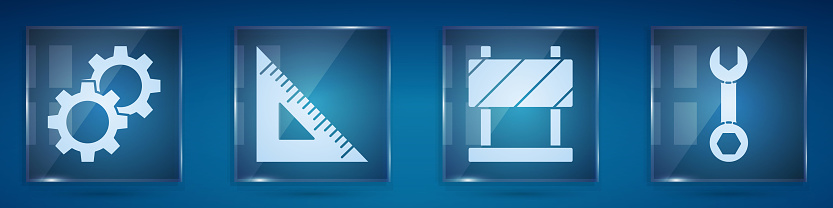 Set Gear, Triangular ruler, Road barrier and Wrench spanner. Square glass panels. Vector