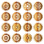 Set  gears in the style of steampunk. Vector illustration.